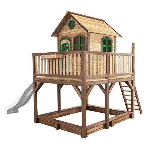 AXI Spielhaus Liam mit Sandkasten & weißer Rutsche | Stelzenhaus XXL in Braun & Grün aus FSC Holz für Kinder | Spielturm mit Wellenrutsche für den Garten