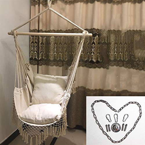 GQQG Hamaca de Asiento Suspendido, Hamaca Sillon Colgante para Jardín, Interior, Exterior, Salón o Patio, 150kg de Capacidad