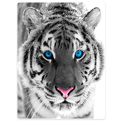 Violetpos Dick Decke Weich Wärme Gemütlich Flanell Fleece Sofadecke Deckeldecke Sibirische Tiger Blue Eyes 125 x 200 cm