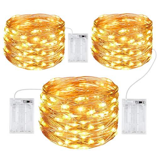 Gritin Guirnalda Luces, [3 PCS] 10M/100 LED Guirnalda Luces LED Exterior Impermeable Cadena Luces de Cálida Amarilla Luces Navidad para Decoración Bodas Fiesta de Navidad-Alambre de Cobre