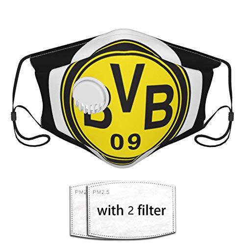 JWGDCBY Unisex Borussia Dort-Mund Bvb Mundschutz mit Ventil, wiederverwendbares Bandana für Motorradfahren
