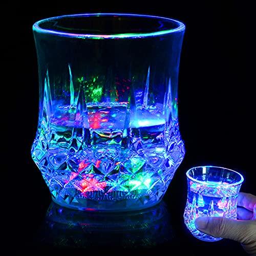 Speyang de Cóctel de Vidrio Creativo LED Luz Luminosa Vasos de Cristal para Beber Copas, taza intermitente LED de Cristal de Plástico Multicolor de La Taza Del Agua de Inducción Luminosa Regalo