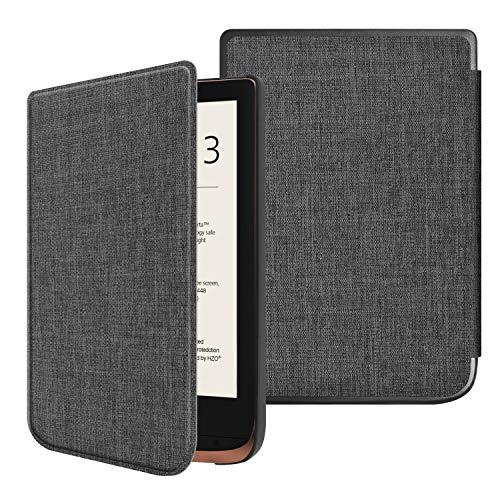 Fintie Hülle für Pocketbook Touch HD 3 / Touch Lux 4 / Touch Lux 5 / Basic Lux 2 / Color (2020) e-Book Reader - Ultradünne Schutzhülle mit Auto Aufwachen/Schlafen, Magnetverschluss, Stoff dunkelgrau