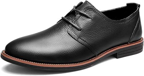 XHD-Chaussures Mode pour Hommes d'affaires d'affaires Oxford Décontracté Classique Simple Couleur Pure paniers Formelles (Couleur   Noir, Taille   40 EU)