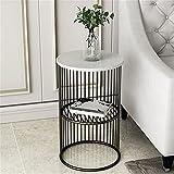 SHUJINGNCE Table Basse Nordique, Table Basse en Fer doré Simple avec marbre pour Salon, lit Minimaliste, étagère...