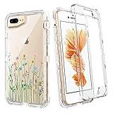 Bentoben funda para iPhone 8 Plus, iPhone 7 Plus, iPhone 6S Plus, funda para iPhone 6 Plus, transparente, resistente, cuerpo completo, a prueba de golpes, flores