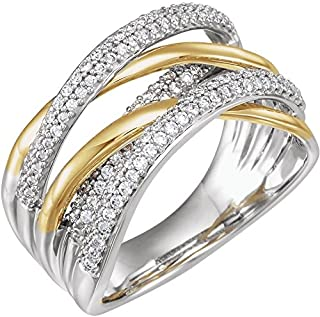 Jewels By Lux 14K Yellow and White Two Tone Gold 1/2 CTW Diamond Criss-Cross Ring Size 7