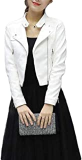 Macondoo Womens Fashion Faux Leather Oblique Zipper Motorcycle Coat Jacket