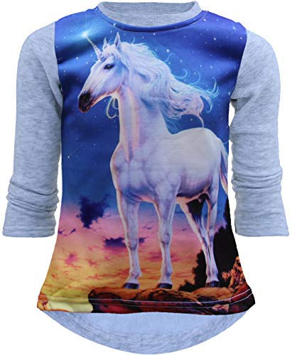 Unbekannt Einhorn Unicorn Mädchen Kinder Sweatshirt Pullover 3D Druck Bluse Langshirt Pulli (122-128, Grau)