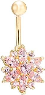 Lisli Belly Button Rings Crystal Rhinestone Flower Jewelry Navel Bar Body Piercing