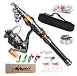 FISHOAKY Fishing Rod kit, Carbon Fiber Telescopic Fishing Pole and Reel Combo with Line Lures Tackle...