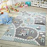 TT Home Alfombra Infantil, Alfombra Juegos Infantil, Dibujos De Ciudad, Verde Y Gris, Größe:120x170 cm