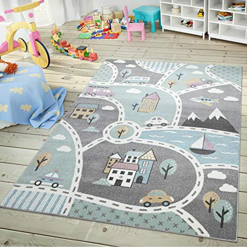 TT Home Kinder-Teppich, Spiel-Teppich Für Kinderzimmer, Mit Straßen-Motiv, In Grün Grau, Größe:120x170 cm