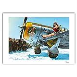 Bruno Graff Póster Cartel Offset Pin-Up Wings Navidad en P47-D, Hugault Firmado (70x50cm)...