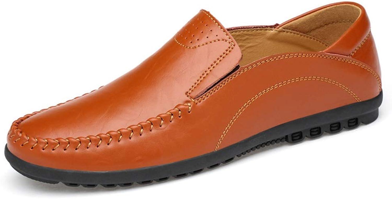 Leather Men's shoes Set Foot shoes Men's Peas shoes Casual shoes (color   Brown, Size   41)