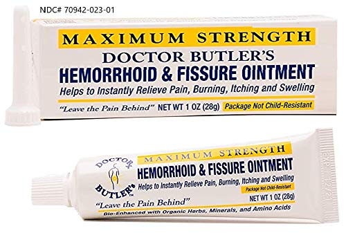 Doctor Butler's Hemorrhoid & Fissure Ointment - Hemorrhoid Treatment with Lidocaine, Pure Aloe Vera, Amino Acids and Essential Oils & Minerals for Fast Acting Pain Relief, Itch Relief and Swelling