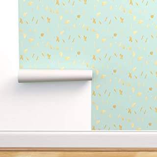 Spoonflower Pre-Pasted Removable Wallpaper, Blue and Gold Paint Flecks Print, Water-Activated Wallpaper, 24in x 108in Roll