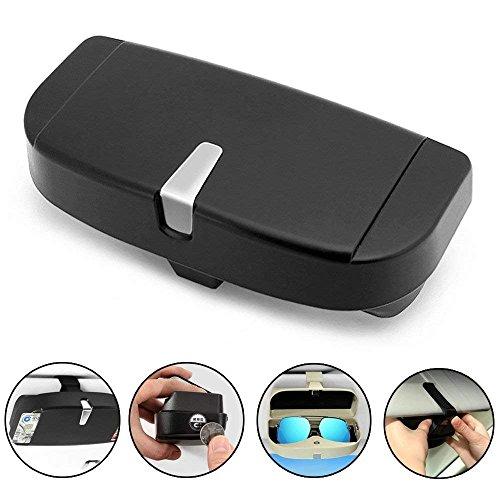 FireAngels - Scatola per occhiali per aletta parasole dell'auto, custodia per occhiali da sole universale per auto, con porta-carte di credito, per aletta parasole