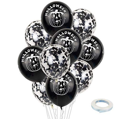 Ladud WSJQQ-01 10 stuks latex ballonnen 12 inch pompoen voor Halloween-party-decoratie, zwart, unisex volwassenen, één maat