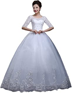 Bride Elegant Lace Wedding Dress Prom Tulle Gown Formal Party Long Sleeve Fluffy Skirt beautiful