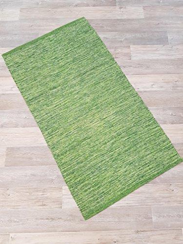 Kottig Fleckerlteppich Handweb Fleckerl Teppich Mallorca 80x150 cm 100% Baumwolle grün