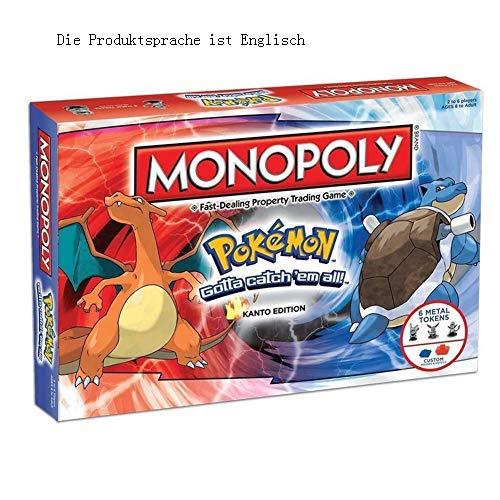 GWLTV Brettspiele Spielzeug Pokemon Pokemon Monopoly-Karte Multiplayer-Party-Brettspiele Deutsche Version