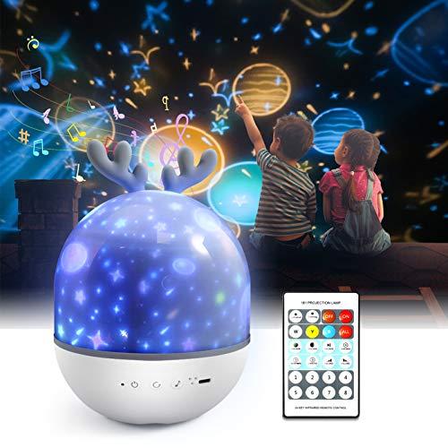 Lámpara Proyector Infantil,Petrichor 360° Rotación Iluminación infantil nocturna, con 6 películas de proyección,8 cómodo canción,para Niños y Bebés, Cumpleaños, Vacaciones, Navidad, Halloween