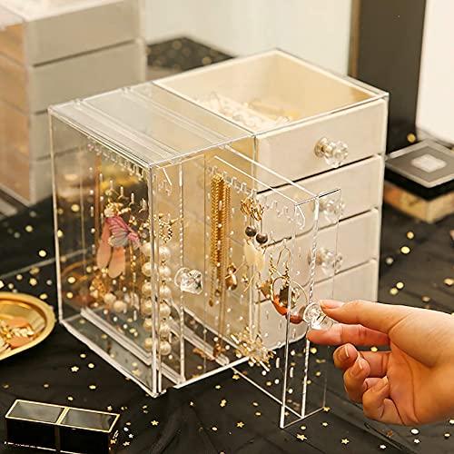 MJJ Caja Organizador De Maquillaje, Caja De Organizador De Joyería Acrílica, Anillo De Collar Pendiente De Pendiente Pantalla De Pantalla con 4 Cajones, Cajas De Joyería Transparente