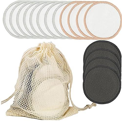 LAANCOO Almohadillas de algodón Reutilizable del Maquillaje de ratón de bambú Toallas Sanitarias removedor de Maquillaje Esponja Lavable Toallitas de Limpieza Facial para el Maquillaje de Belleza