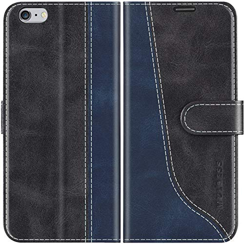 Mulbess Funda para iPhone 6s Plus, Funda iPhone 6 Plus, Funda con Tapa iPhone 6s Plus, Funda iPhone 6s Plus Libro, Funda Cartera para iPhone 6s Plus Carcasa, Negro