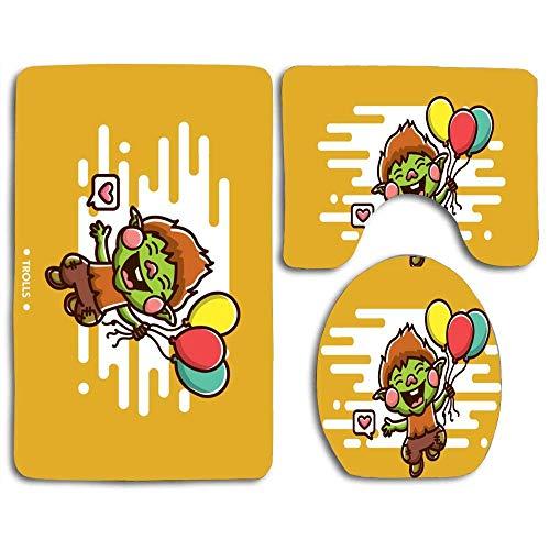 Alfombrillas de baño Trolls Alfombra de contorno de dibujos animados Cubierta de tapa de inodoro en forma de U, antideslizante, lavable a máquina, juego de alfombras de 3 piezas más fácil de secar par