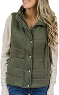 Womens Winter Warm Quilted Puffer Vest Stand Neck Zip Up Jacket Outerwear