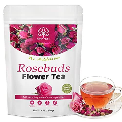 Té de flores de capullos de rosa orgánicos de 50g, té de hierbas naturales, relajante, calma, alivio del estrés, no OGM, té de flores de rosas saludables