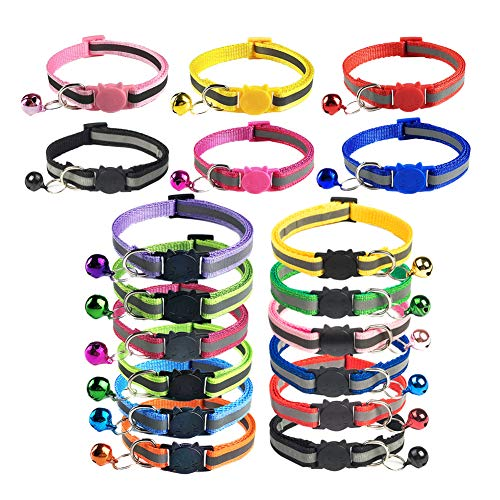 TCBOYING Breakaway Cat Collar with Bell, Mixed Colors Reflective Cat Collars - Ideal Size Safe Pet Collars for Cats or Small Dogs(18pcs/Set)