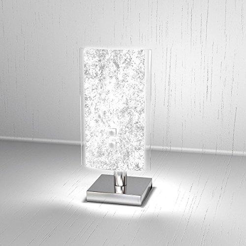 Lampada da Tavolo moderna BRICKA Lumetto diffusore in Vetro Satinato Foglia Argento Abat-Jour Scrivania, Comodino, Comò