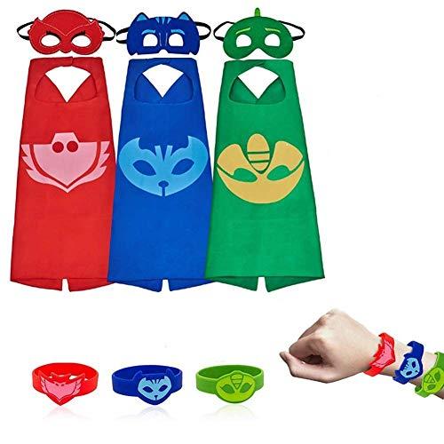 SHANFAA Capa de PJ Masks con dibujos animados de superhéroe para niños, 3 máscaras, 3 piezas de abrigo y 3 pulseras para juegos de rol, Catboy, Owlette, Gekko