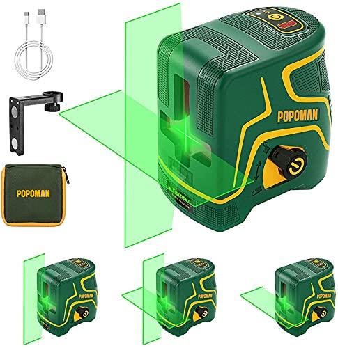 Niveau Laser, USB Charge, 45m Laser Croix Vert, Autonivellement et Mode Pulsé Extérieur, Deux Module Laser, Support Magnétique, Grand Angle 120°, 360° Pivotant