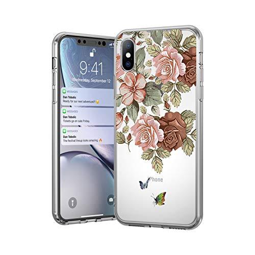 Ti'an Funda de silicona suave para iPhone 11 7 8 6 6S Plus 5 5S SE Retro Hojas Flores Fundas de teléfono para iPhone XR X XS Max Back Cover-2521-Para 7 Plus u 8 Plus