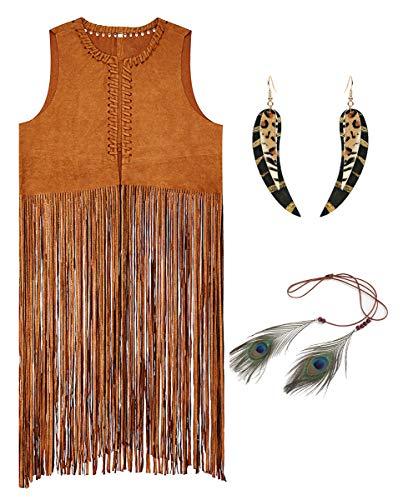 chuangminghangqi. Gilet Hippie Senza Maniche con Frange 60s 70s Set di Accessori Costume Hippie Include Gilet Smanicato in Pelle,Fascia Indiana Donna e Orecchini di Boho (Marrone, L)