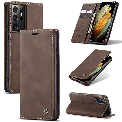 XINYUNEW Hülles Kompatibel mit Samsung Galaxy S30 ULTRA/S21 Ultra Hüllen, Premium Dünne Ledertasche Handyhülle mit Kartenfach Ständer Flip Klapphüllen for Hülles Galaxy S30 ULTRA/S21 Ultra- Kaffee