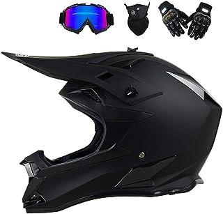 Motocross Helm mit Brille Handschuhe Maske, Motorrad Crosshelm Herren Fullface Helm MTB Pro Cross Helm Motorradhelm Downhill Bike Mountainbike BMX Off Road ATV Cross-Country, Schwarz Matt