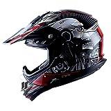Adult Motocross Helmet Off Road MX BMX ATV Dirt Bike Mechanic Skull Red