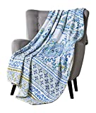 Decorative Plush Throw Blanket: Floral Paisley with Geometric Borders Accent for Couch or Bed, Colors: Blue Navy Aqua Green White