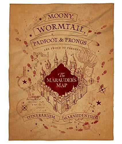 kuschelige Flauschdecke Fleecedecke Harry Potter · 150 x 200 cm · Hogwarts-Schule · große Decke Tagesdecke Kuscheldecke · Marauders Map (braun)