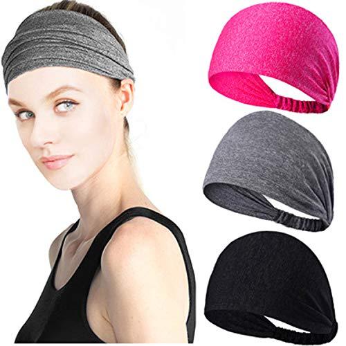 zheng xuan Sport-Stirnbänder-Set, rutschfeste Bänder und breite Stirnbänder Schweißbänder Feuchtigkeitstransport, Sport-Armbänder für Männer und Frauen, perfekt für Yoga, Laufen