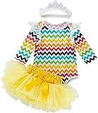 Aeromdale Conjunto de ropa de Pascua para bebé con volantes de manga larga para disfraz de tutú con banda para el pelo, 80 cm, 3 unidades
