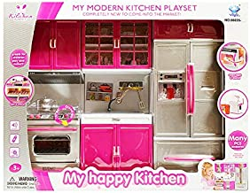 Modern Toy Kitchen - Battery Operated - Kitchen Playset - Perfect for Dolls Refrigerator, Stove, Sink