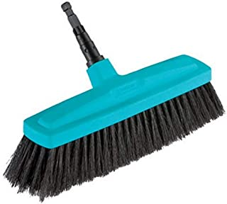 GARDENA combisystem huishoudbezem: Bezem voor het aanvegen van vuil binnenshuis, 34 cm werkbreedte, borstels van kunststof...