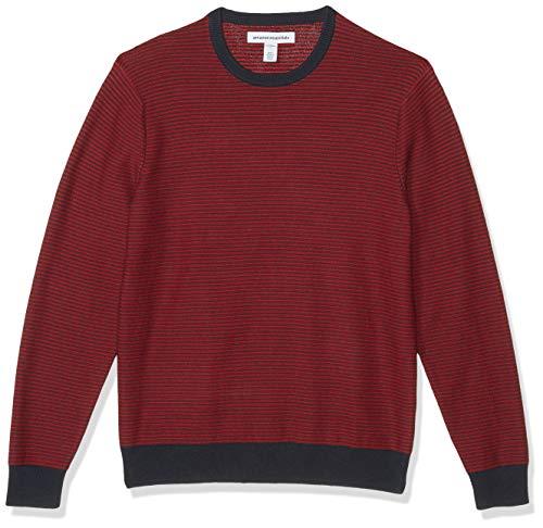 Amazon Essentials Men's Crewneck Sweater, -Navy/Red Stripe, Large