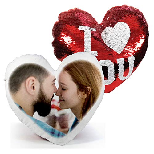 Gifty Lab Cuscino I Love You Personalizzato con la Tua Foto - 40cmx40cm - Formato Love a Cuore con Paillettes - Rosso